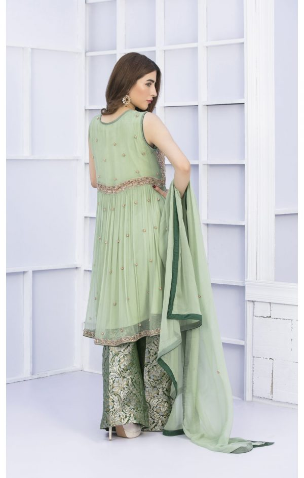 Buy Exclusive Pista Green And Bottle Green Bridal Wear – G15127 Online In USA, Uk & Pakistan - 01