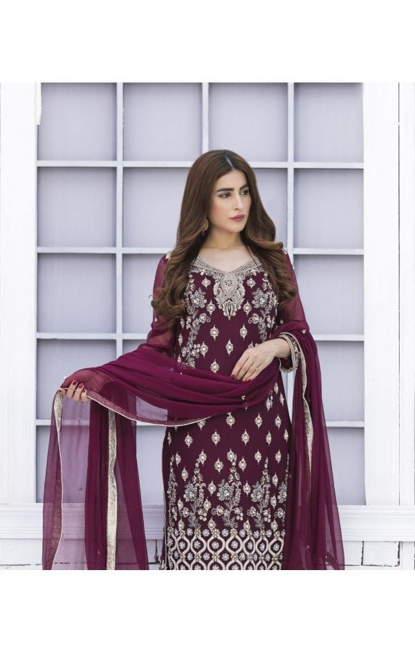 Buy Exclusive Purple And Silver Grey Bridal Wear – G15171 Online In USA, Uk & Pakistan - 02