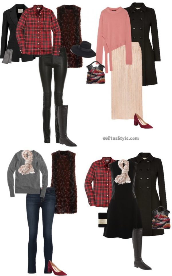 trendy chic outfits: red and pink winter capsule wardrobe | 40plusstyle.com