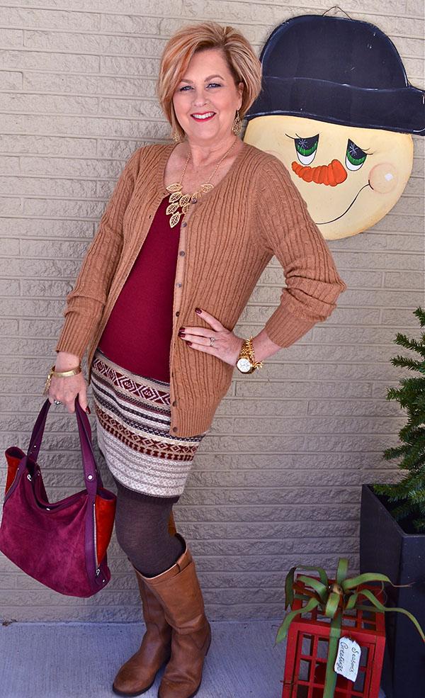 Fall season brown cardigan with Tania  40plusstyle.com