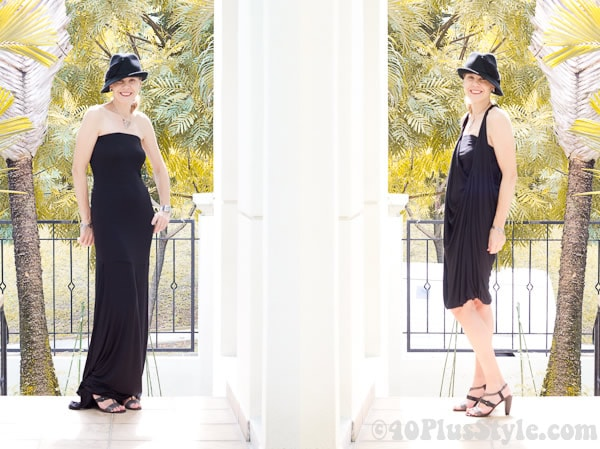 Flattering black drape dress