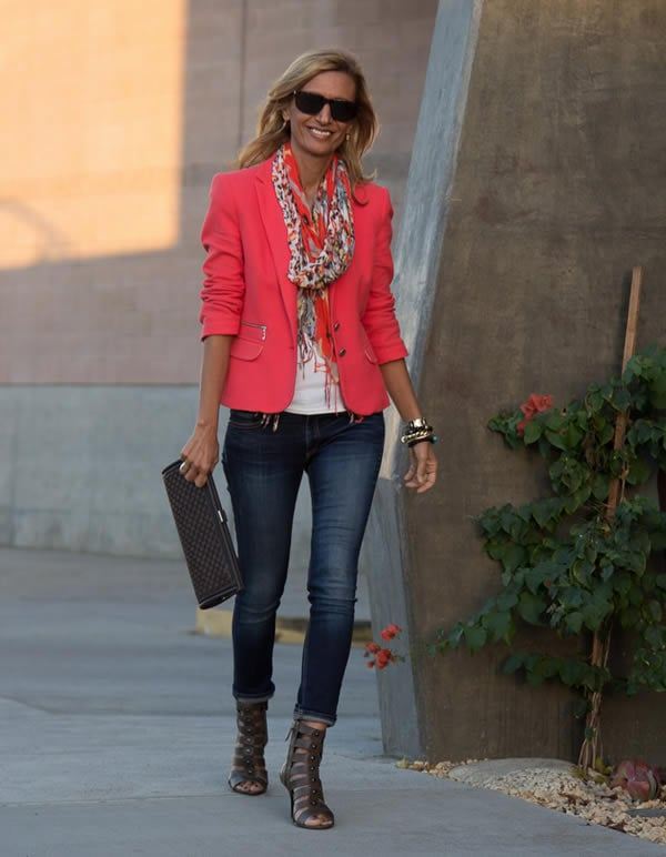 Wearing a colorful jacket | 40plusstyle.com