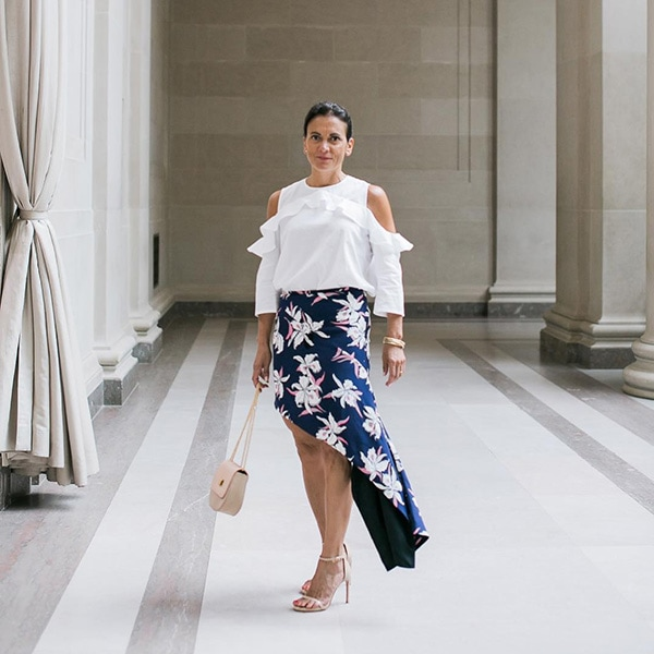 Style Interview with Sylvia: White off shoulder top with floral skirt outfit| 40plusstyle.com