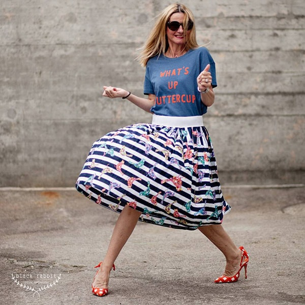 Fun and quirk fashion outfit: striped skirt and polka dotted shoes | 40plusstyle.com