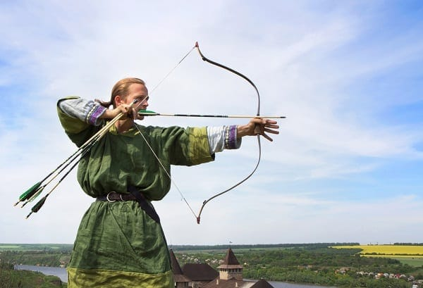 traditional archer holds the bow