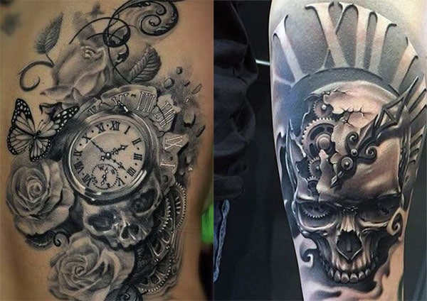 tatuajes-de-calaveras-con-reloj