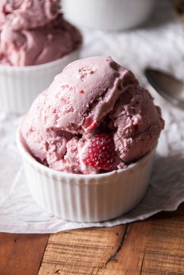 Vegan Strawberry Cashew Milk Ice Cream in a bowl