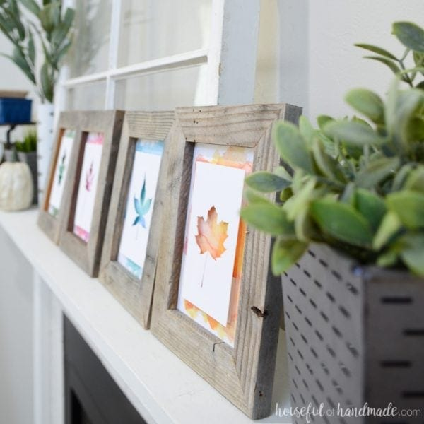 Faux greenery is a great way to add some dimension to your mantel, but will not die. See all the details of this beautiful rustic upcycled fall mantel. Housefulofhandmade.com