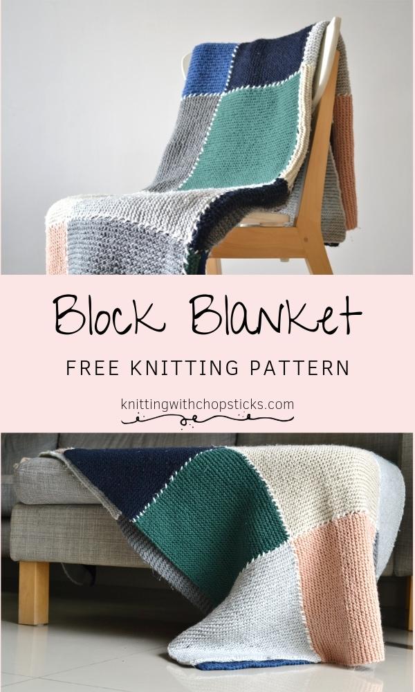 Block blanket knitting pattern FREE