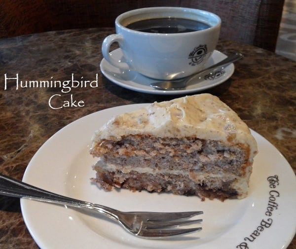 Hummingbird Cake Slice with Coffee
