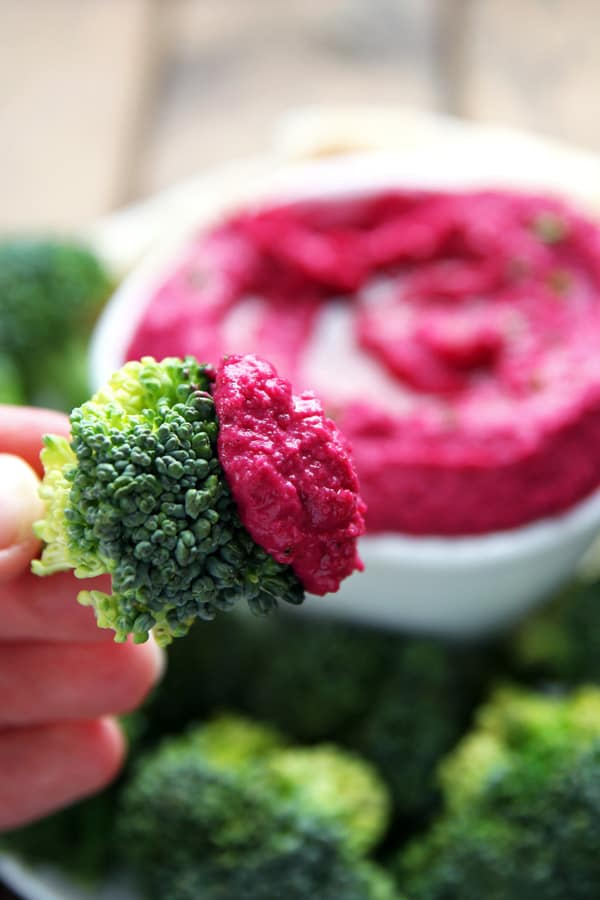 Roasted Beet Hummus with Broccoli