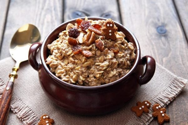 Overnight Gingerbread Oatmeal in Bowl