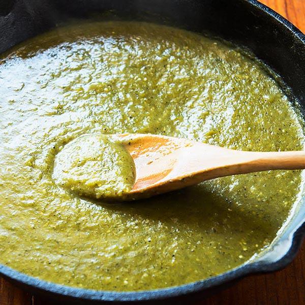 Cooking Salsa Verde in skillet