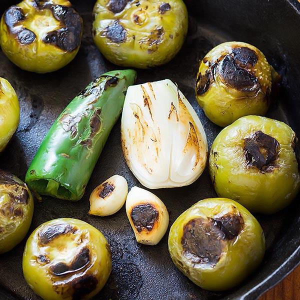 Roasted Salsa Verde Ingredients in cast iron skillet