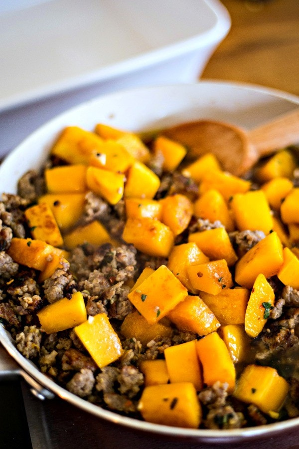 Cooking Butternut Squash with Italian Sausage