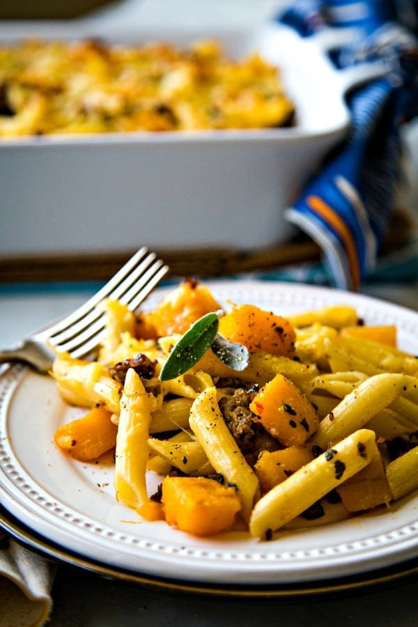 Butternut Squash Italian Sausage Pasta Bake on a white plate