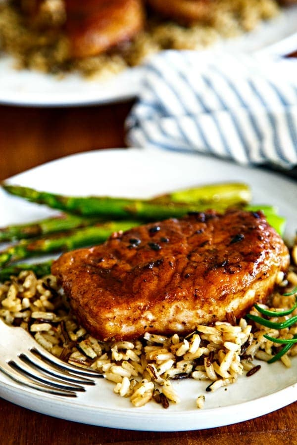 Balsamic Pork Chop on a bed of wild rice
