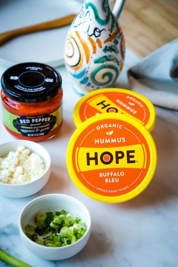 Hope Foods Buffalo Bleu Hummus and Trader Joe's Red Pepper Sauce