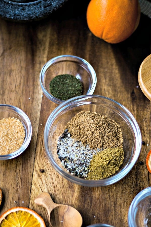 combining spices for citrus salmon rub