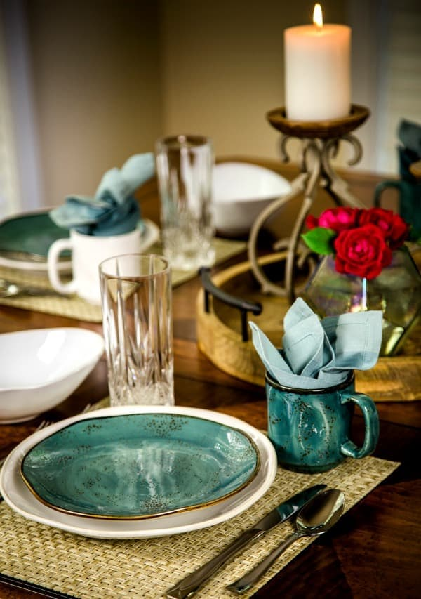 Tuxton Home artisan dinnerware on a table set for a dinner party