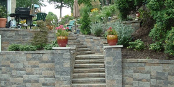 retaining wall and paver stone steps