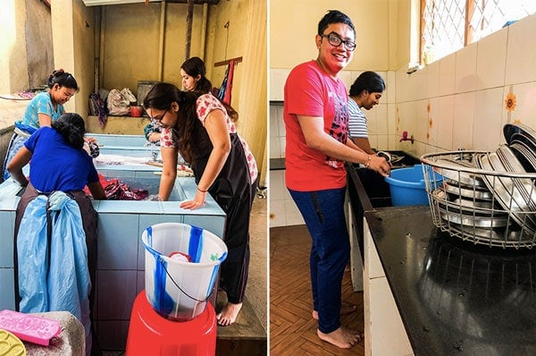 Serving and doing chores at an orphanage in Bangalore