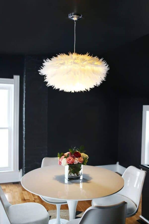 Feather lightshade hanging from ceiling