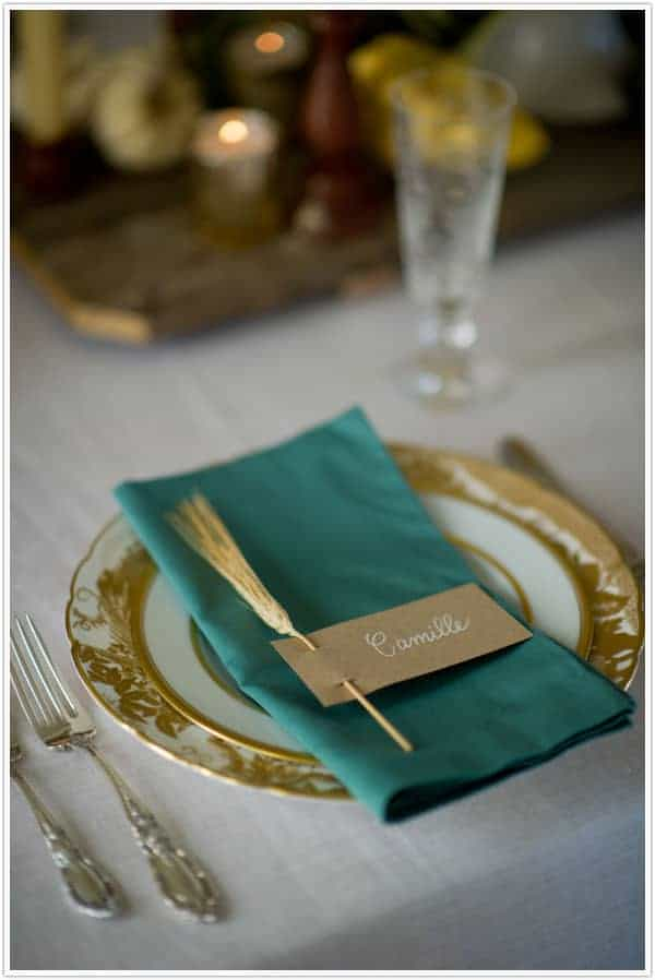 Wheat sprig place setting