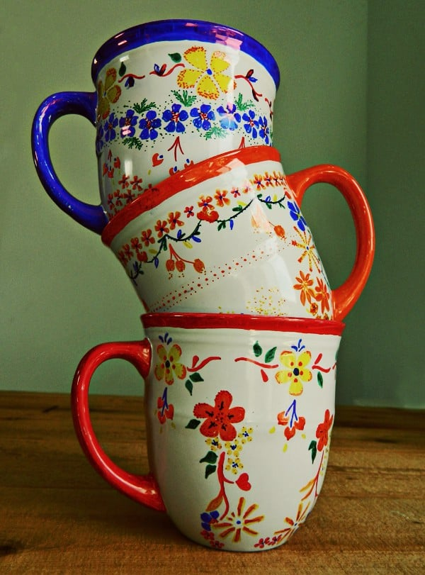Floral painted coffee mugs
