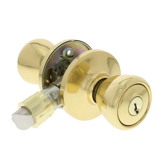 Mobile Home Entry Lock, Polished Brass Finish