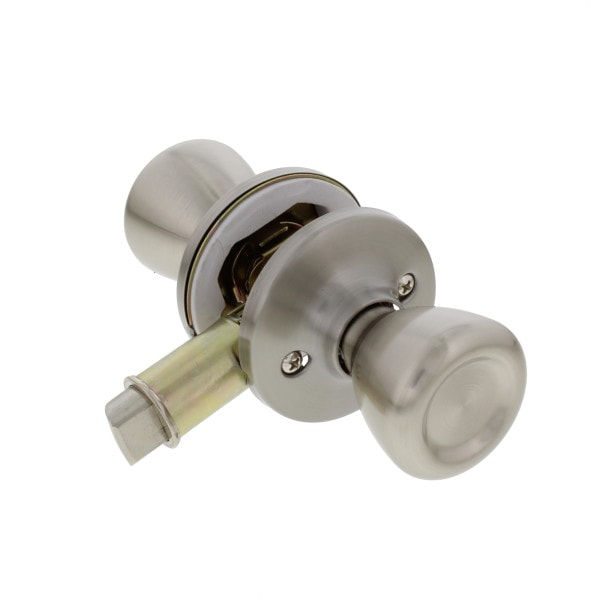 Passage Door Knob, Non Locking, Stainless Steel