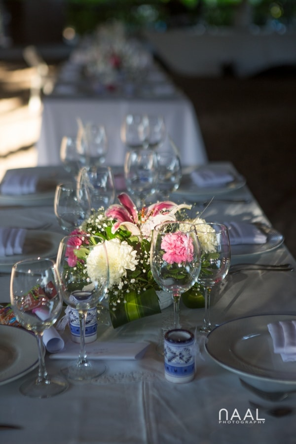 wedding flowers detail at Blue Venado beach Club by Naal Wedding Photography
