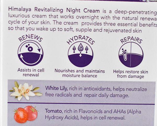 Himalaya Revitalizing night cream claims