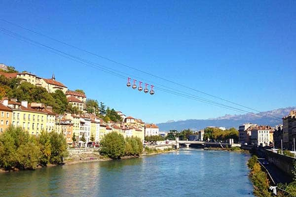 Grenoble in France; check out the many lakes in the area