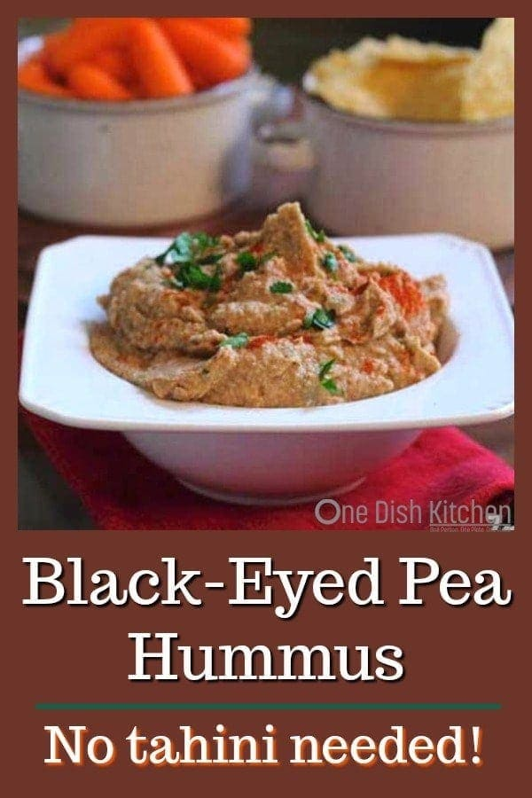 This Black-Eyed Pea Hummus Recipe is a unique way to enjoy black-eyed peas. It's a southern tradition to eat black-eyed peas on New Year's Day to bring good luck. Easy to make and no tahini needed! | One Dish Kitchen