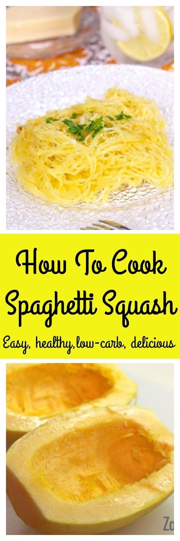 How To Cook Spaghetti Squash, an easy step-by-step recipe with photos and a video. Spaghetti Squash is a flavorful low carb alternative to pasta. | onedishkitchen.com