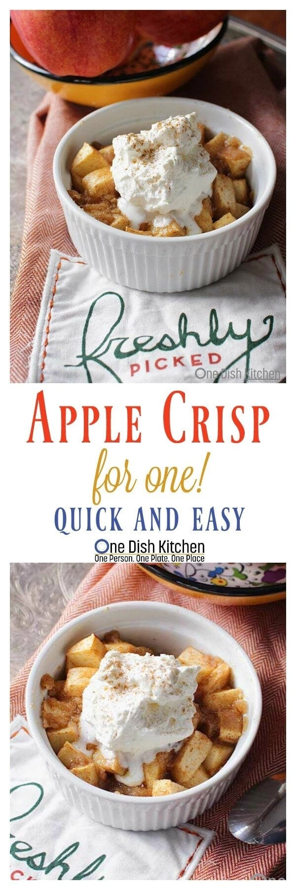 Apple Crisp For One! Apples baked in brown sugar, cinnamon and butter underneath an oat free, buttery topping. The perfect size for a perfect dessert! | One Dish Kitchen