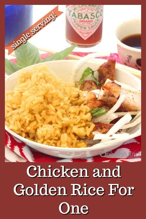 Chicken and Golden Rice for One! – This simple and flavorful dish is made with diced chicken, onions and turmeric infused rice. Use a rotisserie chicken to make this delicious dish in minutes! | One Dish Kitchen | #singleserving #chickenrecipes #cookingforone