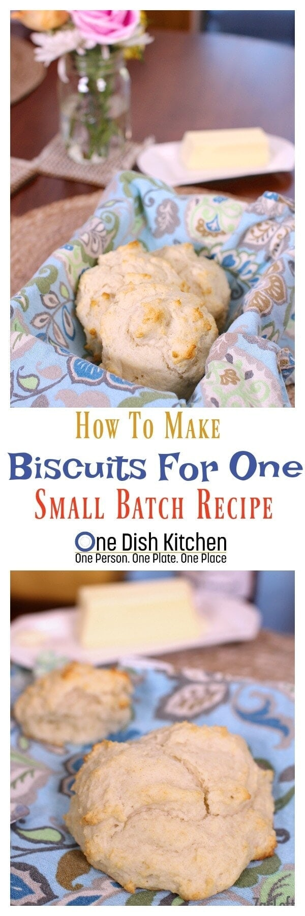 If you've ever wanted to make a smaller batch of biscuits, this recipe is for you. See how easy it is to make fluffy and delicious biscuits for one (or two)… | One Dish Kitchen | onedishkitchen.com #biscuits #breakfast