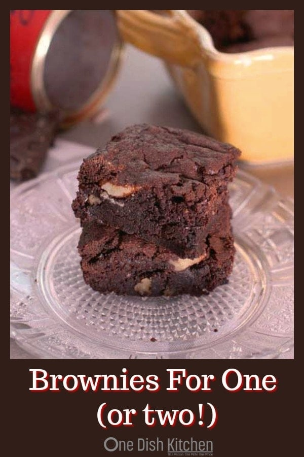 Brownie Recipe For One – a quick and easy single serving brownie recipe for rich, chewy and pretty close to perfect brownies. This brownie recipe yields the perfect amount for one or two people. | One Dish Kitchen | #brownierecipe #smallbatch #desserts #singleserving #chocolate