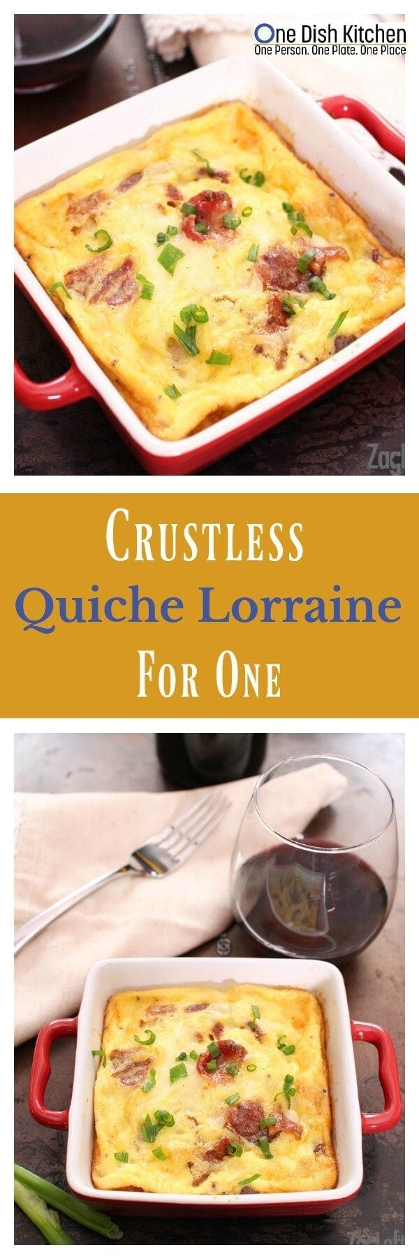 You certainly won't miss the crust in this lovely Crustless Quiche Lorraine for one! It's perfect for breakfast, lunch or dinner. Two eggs, a little cream, bacon and cheese are just about the only ingredients you'll need to make this delicious recipe for one. | One Dish Kitchen | onedishkitchen.com