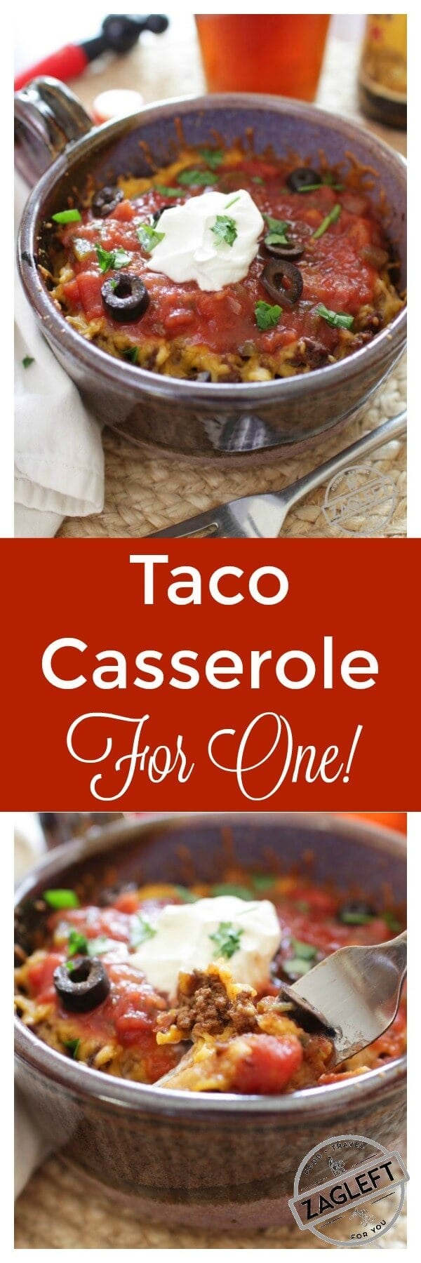 Taco Casserole For One – think of it as a Mexican Lasagna. Spicy ground beef and shredded cheddar cheese between crisp layers of crunchy tostadas and baked in the oven. Top with salsa, sour cream and black olives. An easy to assemble single serving recipe. One Dish Kitchen