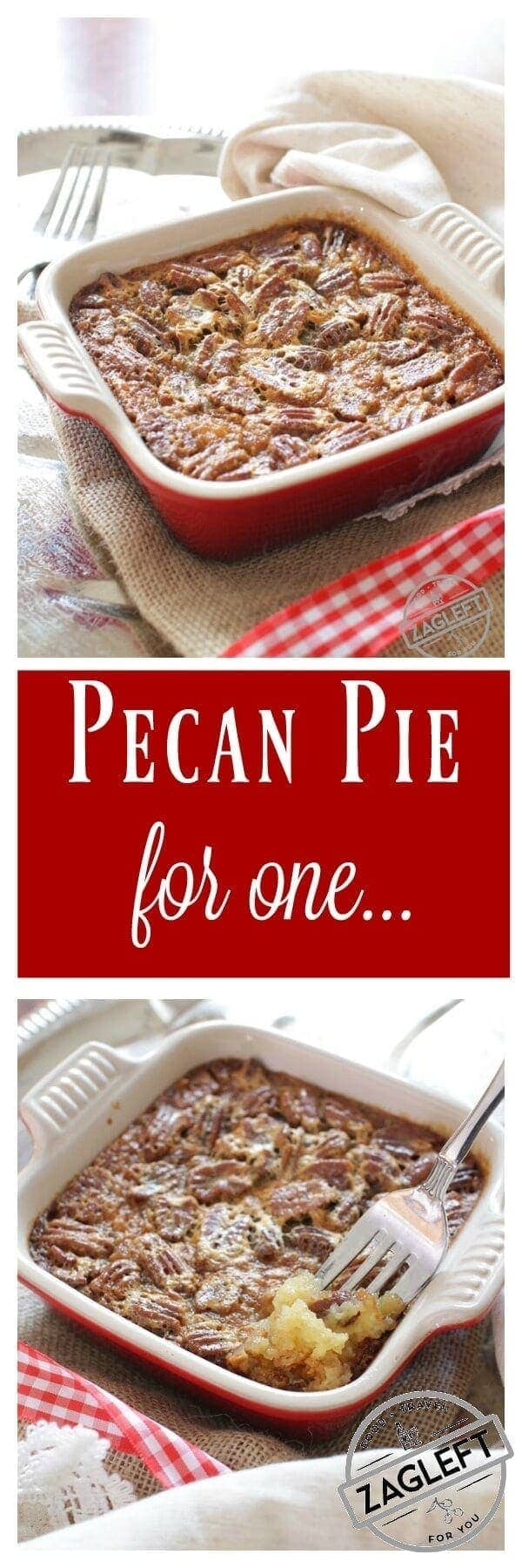 This Pecan Pie For One has all the flavors you love in a pecan pie. It's made with a buttery shortbread crust and a rich, pecan filled filling. This single serving dessert is perfectly sweet, it's filled with pecans and best of all, it's easy to make. | One Dish Kitchen