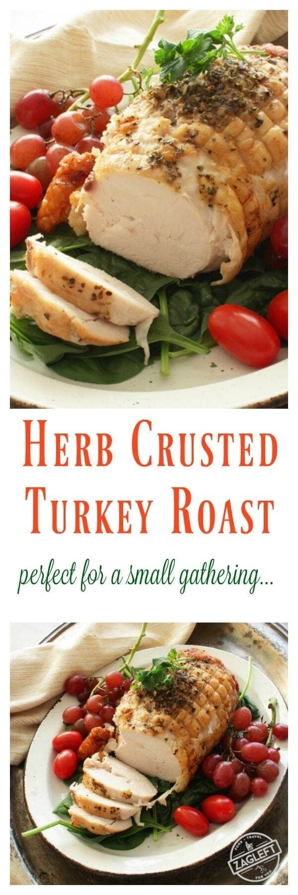 Herb Crusted Turkey Roast - perfect for serving a small group. | Visit www.onedishkitchen.com for other single serving recipes.