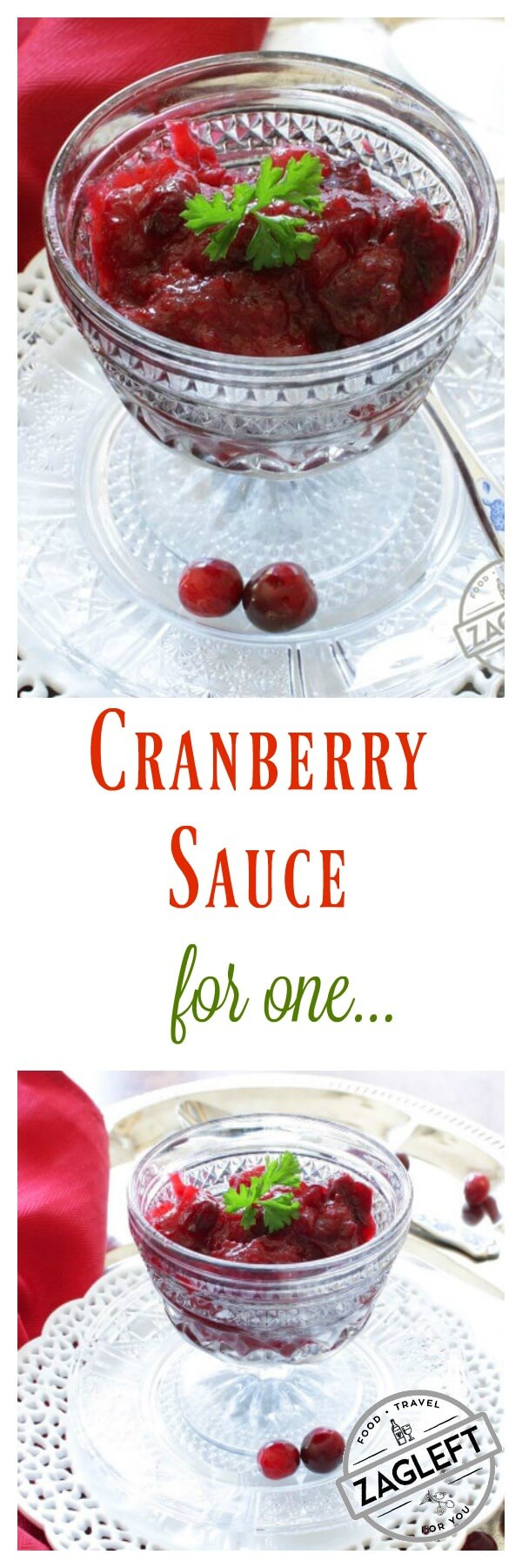 Homemade Cranberry Sauce for One made with a few simple ingredients. If you're dining solo this Thanksgiving, be sure to add this simple classic single serving side dish to your holiday menu | One Dish Kitchen