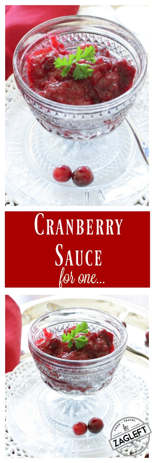 Homemade Cranberry Sauce for One made with a few simple ingredients. If you're dining solo this Thanksgiving, be sure to add this simple classic single serving side dish to your holiday menu. | One Dish Kitchen