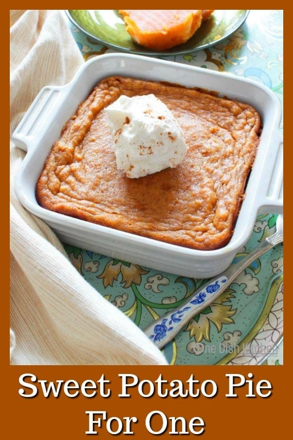 Sweet Potato Pie Recipe For One – This popular Southern dessert starts with a buttery graham cracker crust and is filled with perfectly spiced sweet potato custard. Top this tasty single serving sweet potato pie with a spoonful of maple whipped cream and you've got an amazing single serving dessert. | One Dish Kitchen | #Thanksgiving #pie #sweetpotato #singleserving