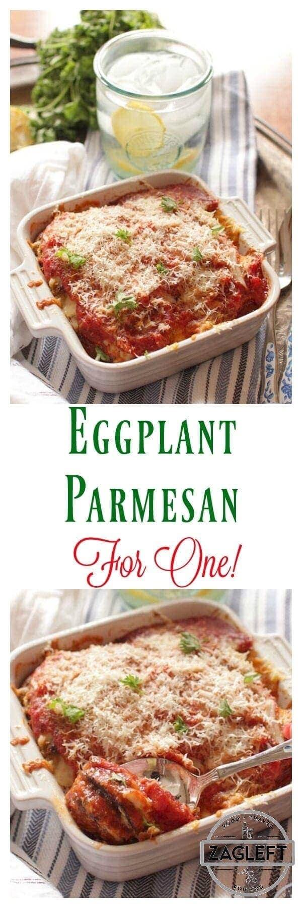 Eggplant Parmesan For One | onedishkitchen.com