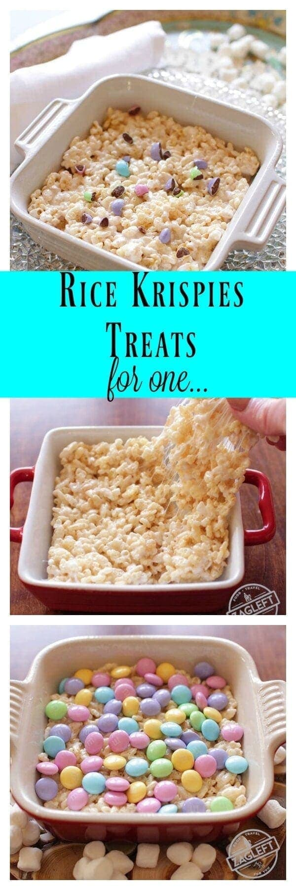 Rice Krispies Treats For One, a single serving version of a classic dessert made in the microwave. Only three ingredients needed and so easy to make.