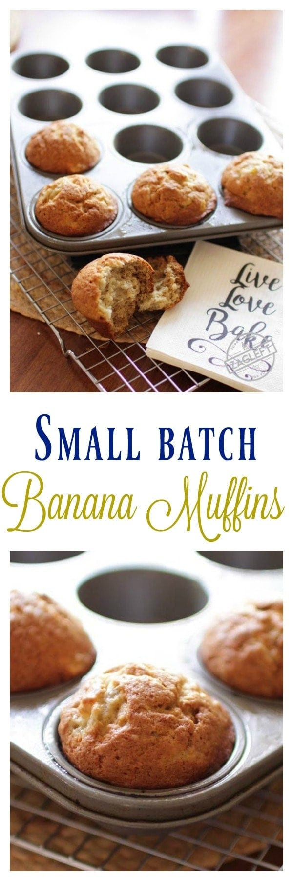 Small Batch Banana Muffins, the perfect amount if you're cooking for one or two. These tender, sweet muffins are perfect for breakfast, snacking or dessert. MAKES 5-6 BANANA MUFFINS | One Dish Kitchen.